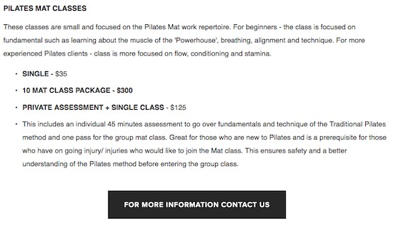 Google search reveals  typical big city pilates prices, in this case in Sydney...